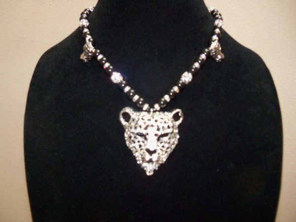 Silver And Black Cougar Necklace With Rhinestone Crystals