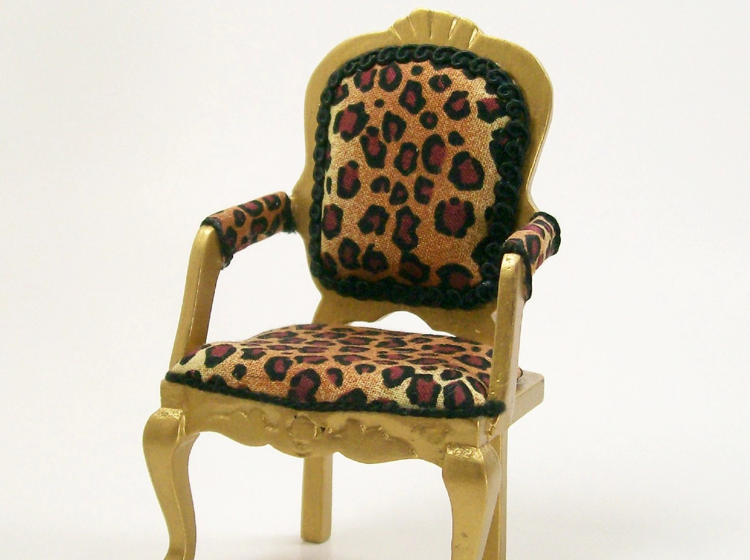 Cheetah Chair Leopard Print Chair Gold Upholstered Furniture 1 12 Dollhouse
