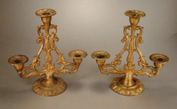 Candelabra Set Gilt Iron Decorative Display 9 In Tall 8