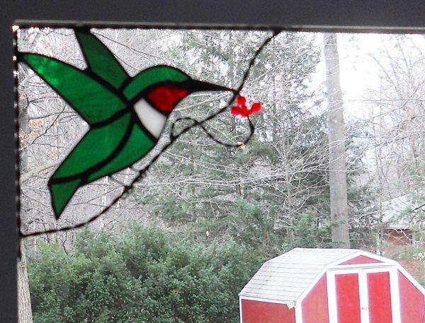 Hummingbird Stained Glass Window Corner Bird