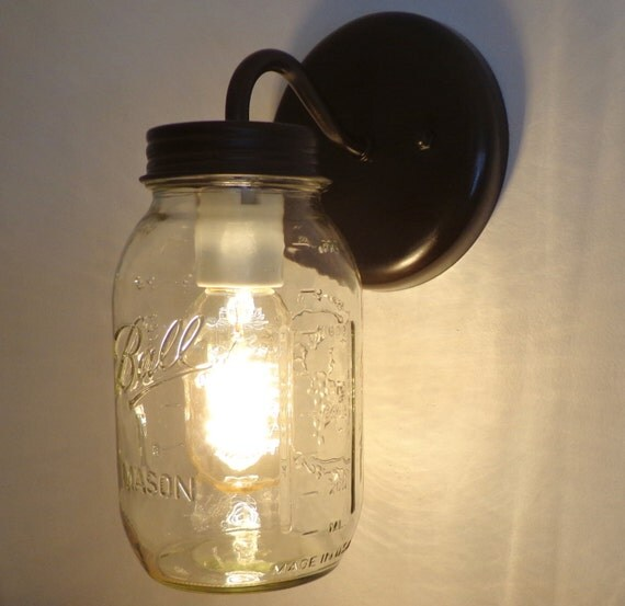 Mason Jar Wall SCONCE Lighting Fixture New Quart by LampGoods