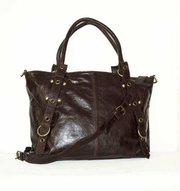 Distressed Dark Brown Leather Tote Bag Handbag Chicleather