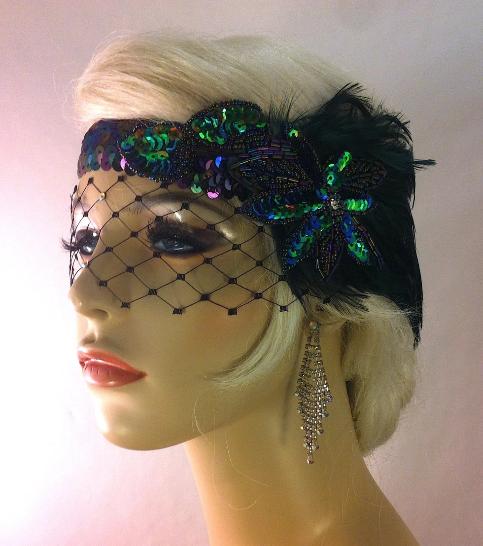 Great Gatsby Headband, Flapper Headband, Downton Abbey, Speakeasy, 1920s Head Piece, Art Deco Headband, Dark Emerald and Peacock Colors