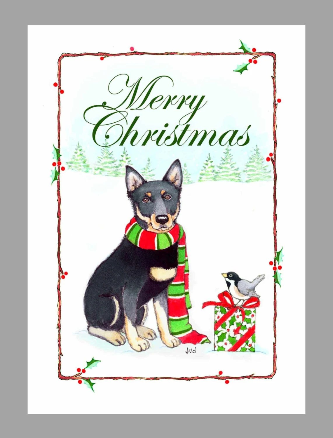 German Shepherd Dog Christmas Cards Box Of 16 Cards And By