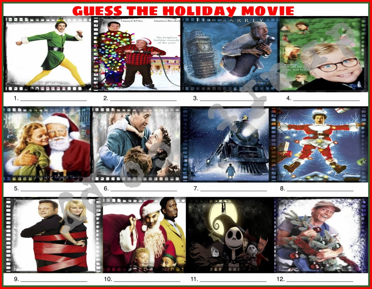 Guess The Holiday Christmas Movie Christmas Game
