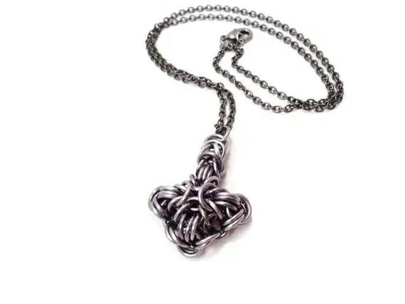 Items similar to Thor's Hammer Mjolnir Chainmail Necklace