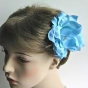 blue flower hair clip wedding