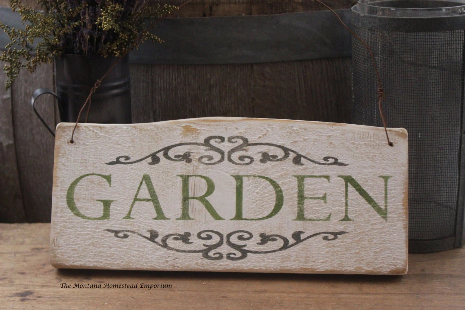 Items Similar To GARDEN Sign Vintage Looking Weathered