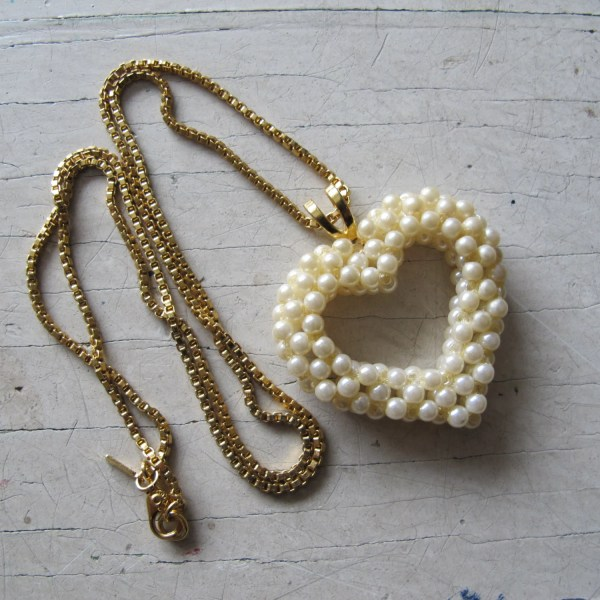 Vintage Monet Faux Pearl Heart Necklace