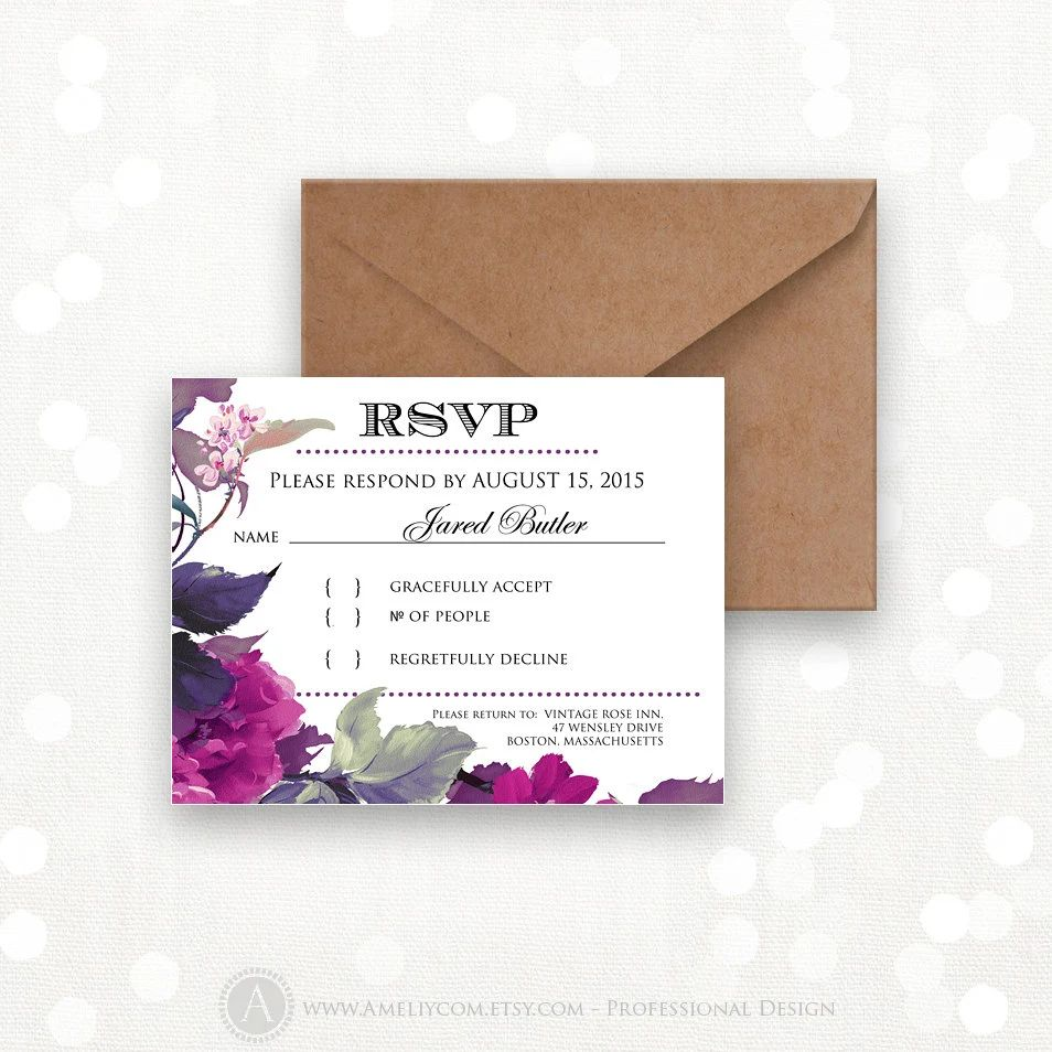 response wedding card