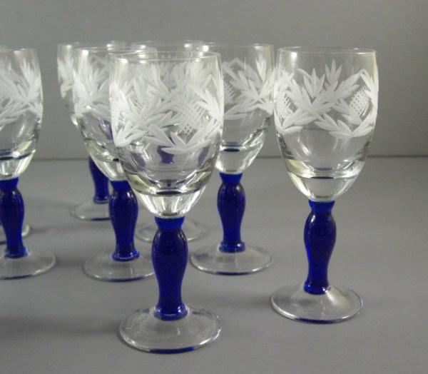 Cut Crystal Cordial Liqueur Glass Set Cobalt Blue Stems