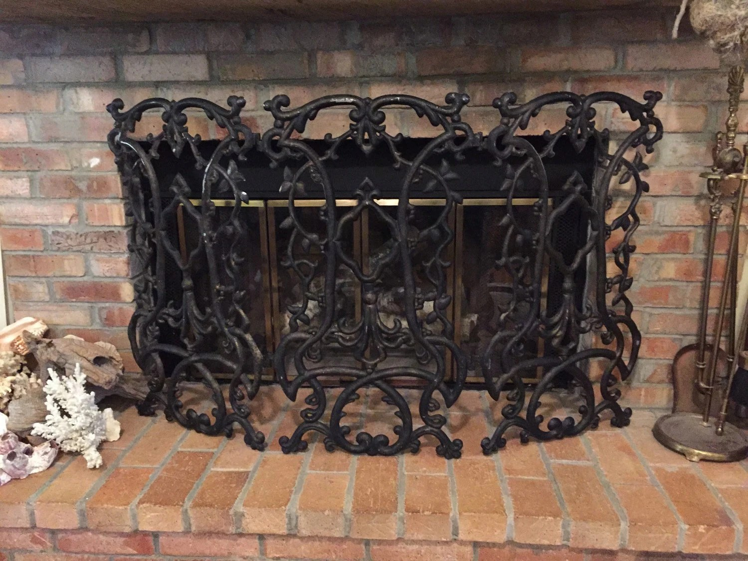 modern victorian sofa knoll replica cast iron fireplace screen folding black home