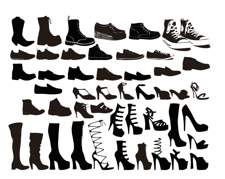 Shoe Silhouette Digital Clipart Vector Eps Files Clip Art