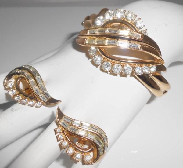Trifari Bracelet & Clip Earrings Alfred Phillipe Early