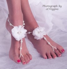 White Bridal Barefoot Sandals Wedding Beach