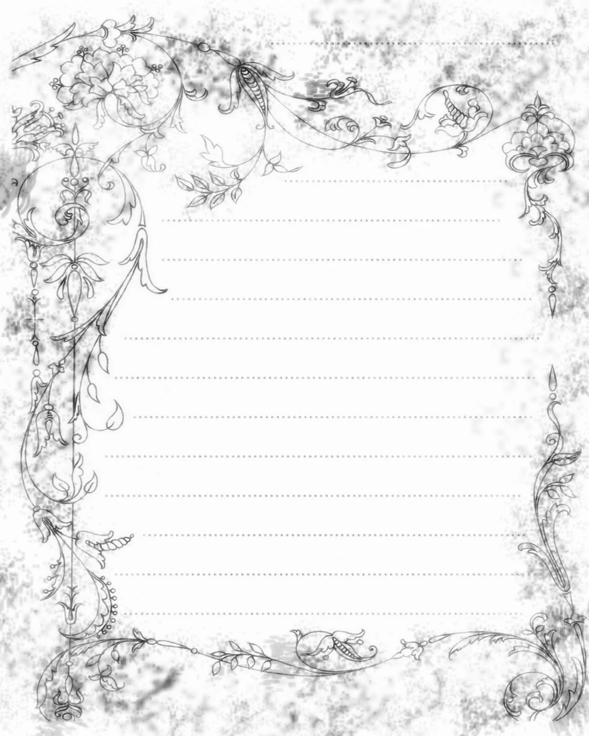 Printable Green and Brown Filigree Lined Journal Page 8x10
