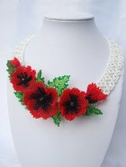 FREE Shipping. Ukrainian style necklace with poppy flowers