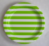 "Light green sailor stripes paper plates - 9"" party plates ..."