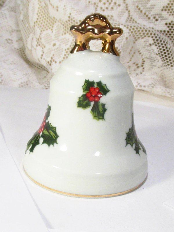 Vintage Lefton China Hand Painted Holly Christmas Bell