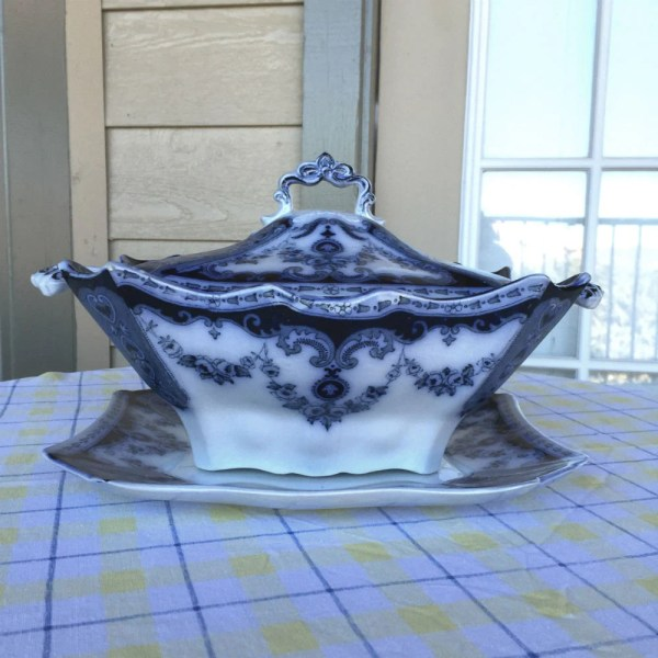 Antique Flow Blue Soup Tureen With Underplate T Rathbone