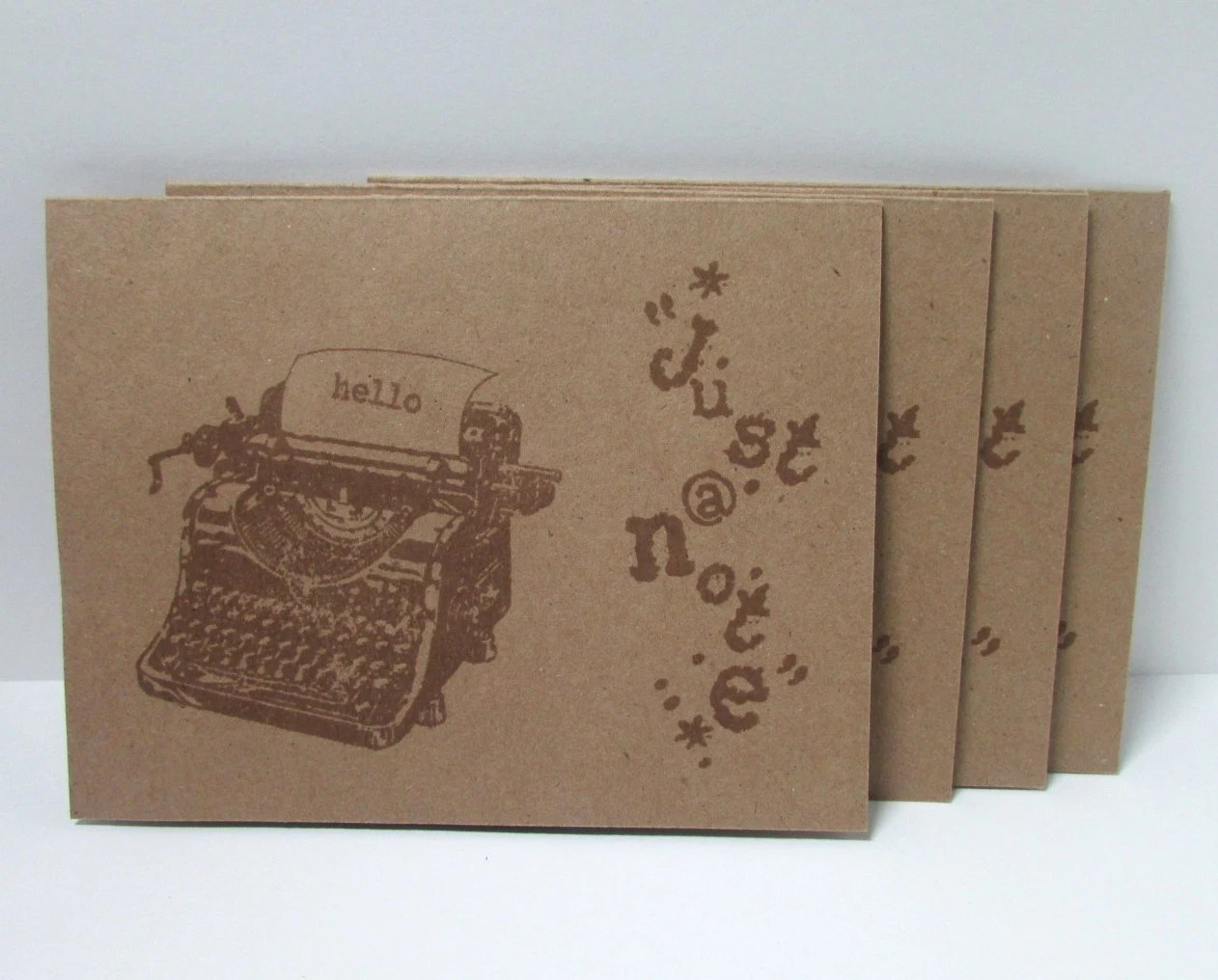 handmade note card set hello just a note rustic kraft