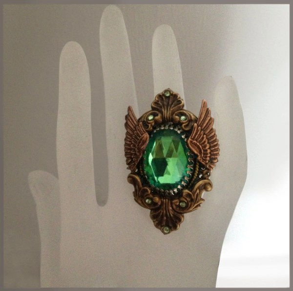 Brass Winged Ring Steampunk Art Nouveau