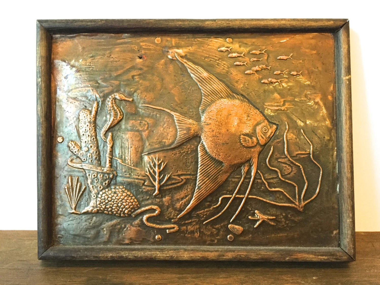 Vintage Embossed Copper Angel Fish Wall art Aquatic original