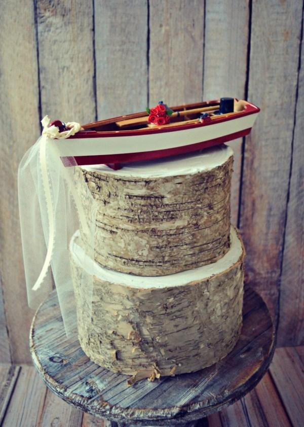 Rowboat Nautical Wedding-cake Topper-boat Cake