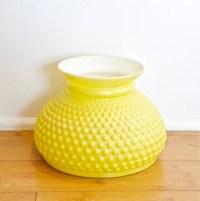 Vintage yellow hobnail lamp shade...blown milk glassvintage