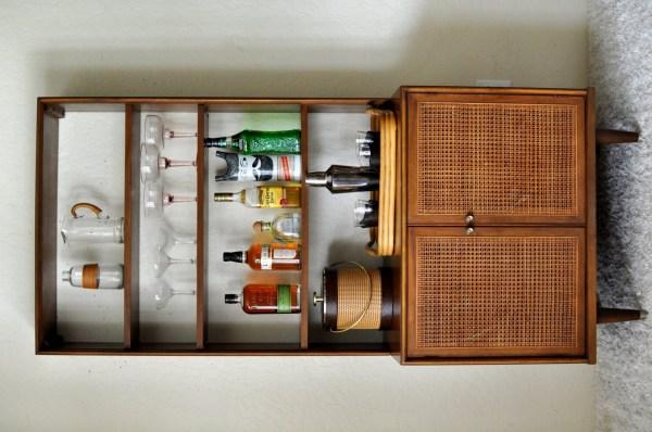 Mcm Caned Hutch Dry Bar Cabinet Vintage Danish Modern Style