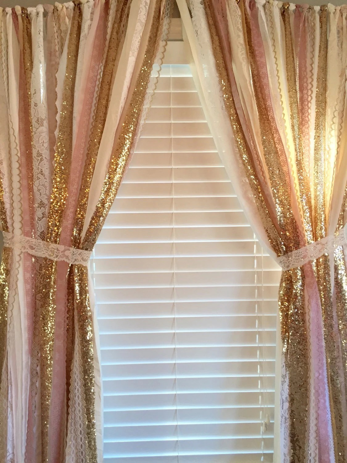 Pink Amp Gold Sparkle Sequin Garland Curtain With Lace Nursery