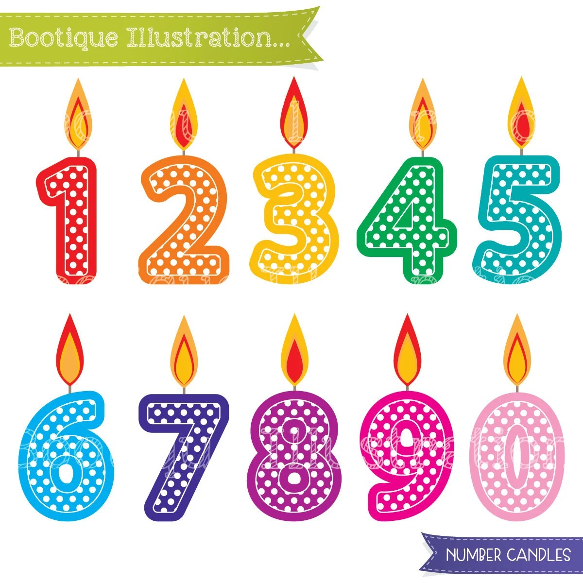 Number Candles Clipart Birthday Clipart By