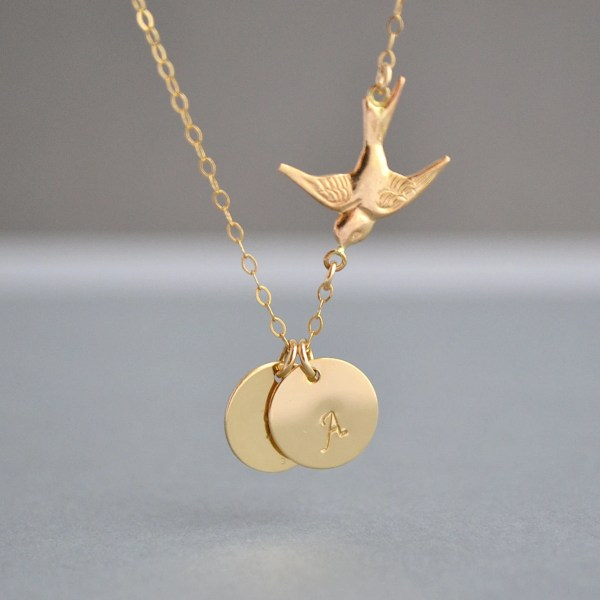 Gold Bird Necklace Two Initial Love Family
