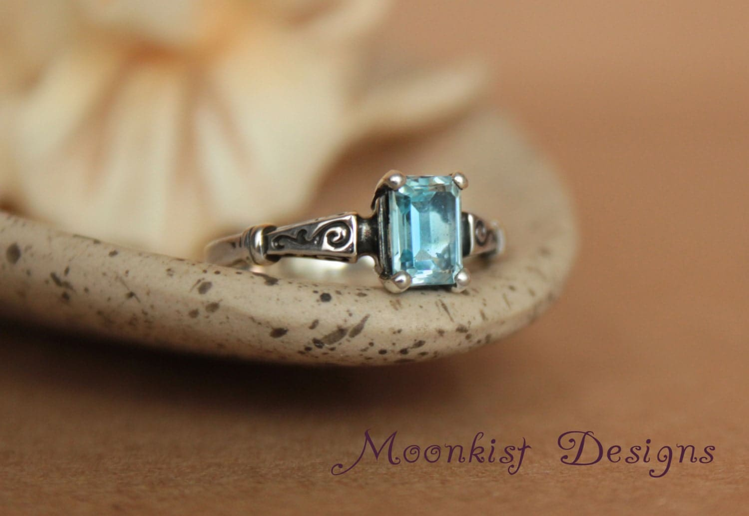 Blue Topaz Octagonal Scroll Engagement Ring In Sterling Silver