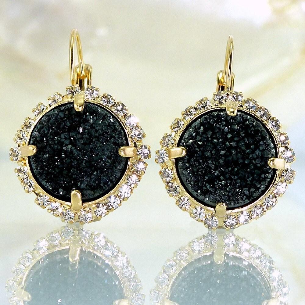 Gold Black Earrings Black Druzy Earrings Gemstones by
