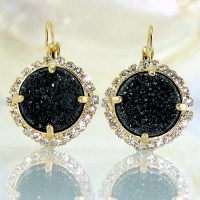 Gold Black Earrings Black Druzy Earrings Gemstones by