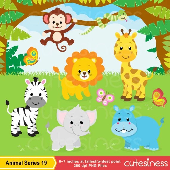 Jungle Animal Clipart Safari Clip art Jungle Clip art