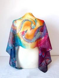 Phoenix scarf silk scarf phoenix yin yang scarf hand
