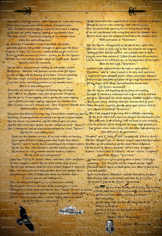 Printable Raven Edgar Allen Poe Poem By Nevermorealteredart