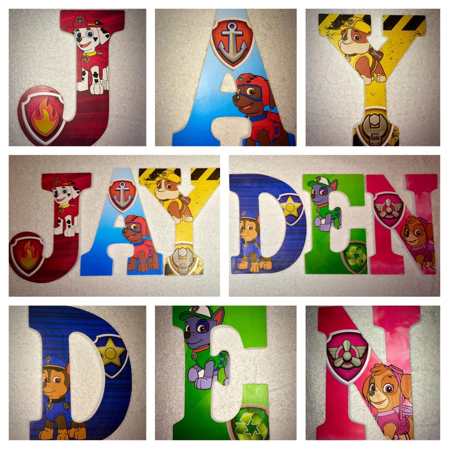 Custom Wooden Letters Hanging Paw Patrol Wood Letter Door Sign