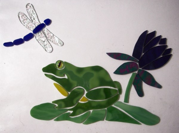 Pre-cut Stained Glass Mosaic Inlay Frog Lily Pad With Lotus