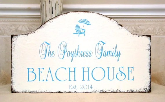 BEACH HOUSE Sign Rustic Hand Painted Beach Sign Personalized