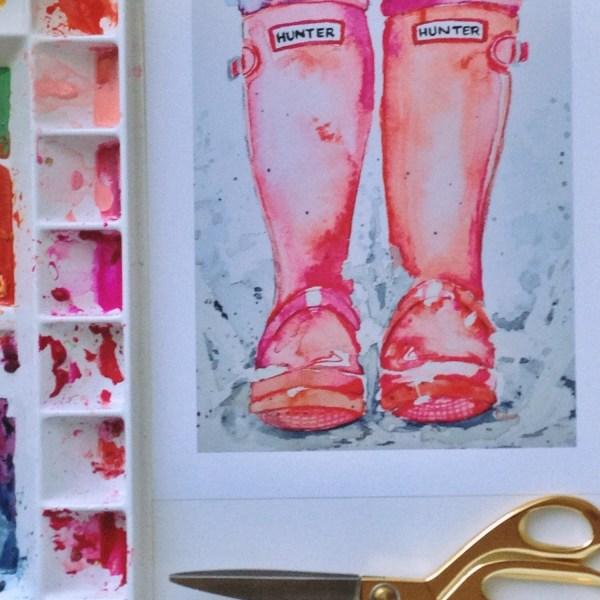 Watercolor Rain Boot Art Print-wall Limezinniasdesign