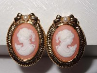 Peach and Cream Cameo Clip On Earrings Acrylic Apparel