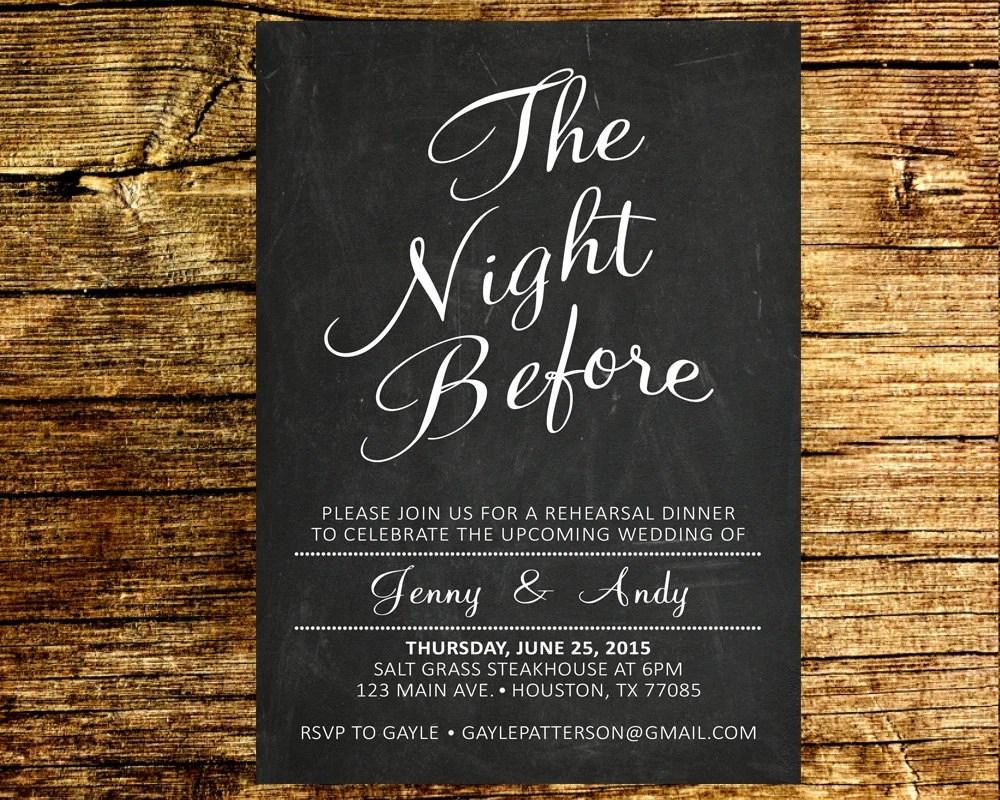 The Night Before Rehearsal Dinner Invitation Wedding