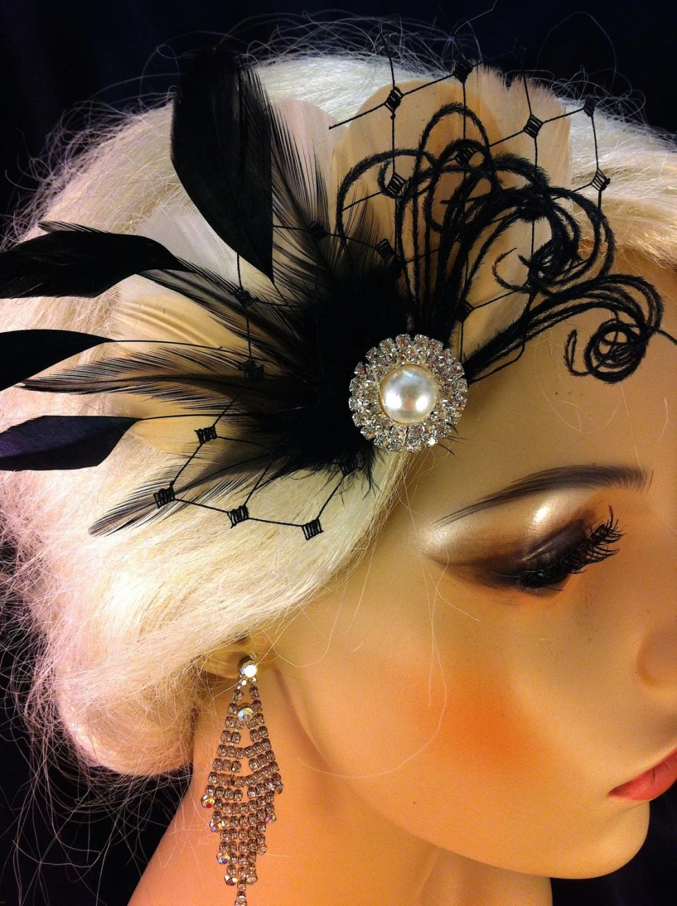 Feather Hair Fascinator, Wedding Hair Clip, Bridal, Prom, Wedding Hairpiece, Great Gatsby, Bridesmaid, Champagne and Black, COLOR CHOICE