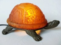 Vintage Turtle Night Light Amber Glass Accent Lamp
