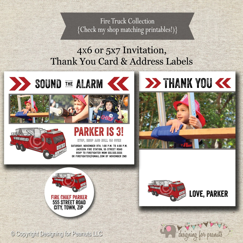 Fire Truck Invitation Thank You Card Return Address Label
