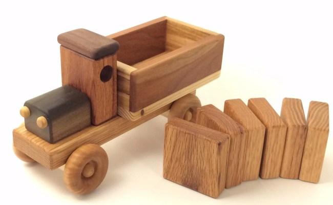 Handmade Wooden Toy Cargo Truck W Plain Blocks