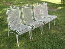 Vintage Set Of 4 Heavy Wrought Iron Patio Chairs